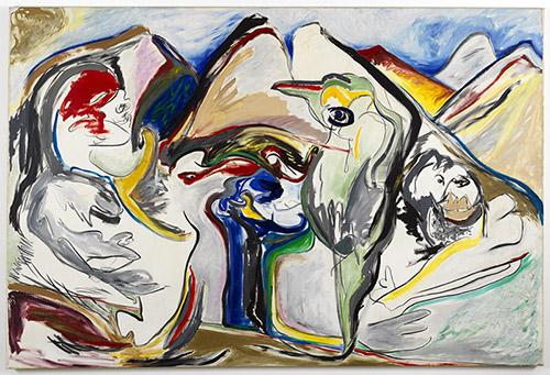 Jacqueline de Jong, Le jour des montagnes Philosophiques, 1984, huile sur toile, 200 × 299,8 cm. Crédit : courtesy de Dürst Britt & Mayhew, La Haye.