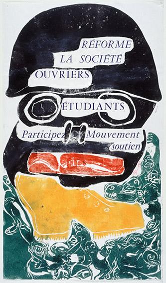 Jacqueline de Jong, RÉFORME/ LA SOCIÉTÉ/ OUVRIERS/ÉTUDIANTS/ Participez Mouvement/soutien, 1968, affiche sérigraphiée, 35 × 60,5 cm. Crédit : musée Carnavalet.