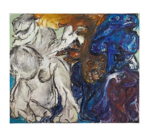 Jacqueline de Jong, Après la pluie, 1963, huile sur toile,  164 × 194 cm. Crédit : Städtische Galerie im Lenbachhaus und Kunstbau München.