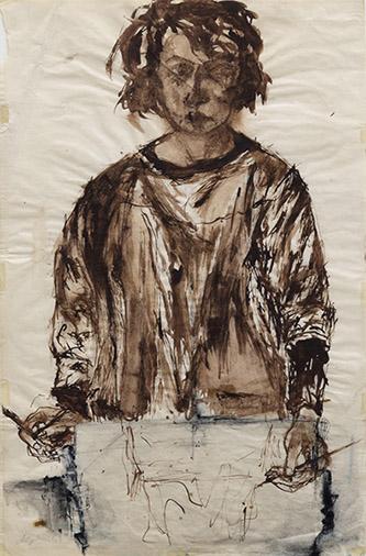 Jacqueline de Jong, Autoportrait, 1962, encre de Chine sur papier, 43,5 × 28 cm. Crédit : courtesy de Dürst Britt & Mayhew, La Haye.