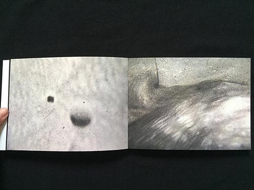 Extrait double page de Cosmogonie d'Angéline Leroux, livre d'artiste d'artiste en auto-édition. © Angéline Leroux.