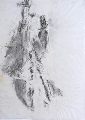 Hélène Bremond, 05 du n° 40030, fusain sur papier de soie, 70x100 cm, 2014.