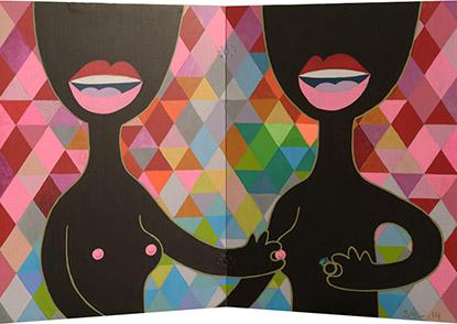 Sylvain Silleran, Sisters, acrylique sur bois, 116x78 cm, 2014.