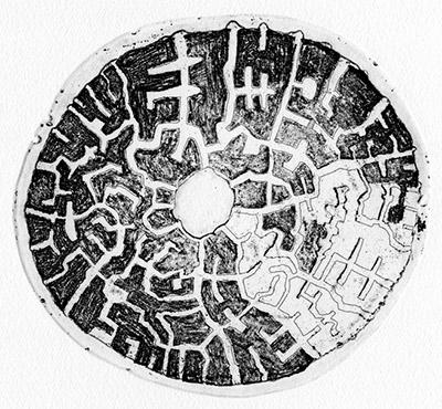 Frank Denon, Ile Citadelle 3, Gravure eau-forte sur cuivre, 25x25 cm, 2014.