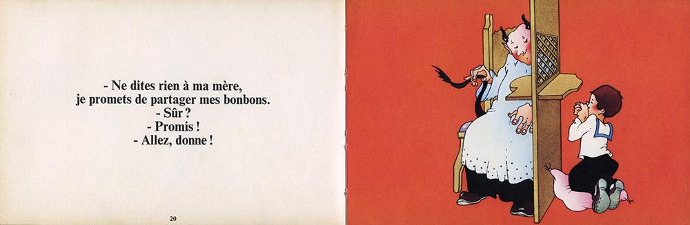"""Double page 20-21, """"La raison des plus grands n'est pas toujours la meilleure"""" d'Albert Cullum aux éditions Encore un Livre d'Harlin Quist, édition de 1976."""