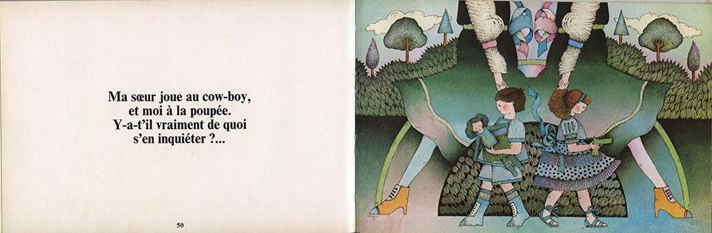 """Double page 50-51, """"La raison des plus grands n'est pas toujours la meilleure"""" d'Albert Cullum aux éditions Encore un Livre d'Harlin Quist, édition de 1976."""