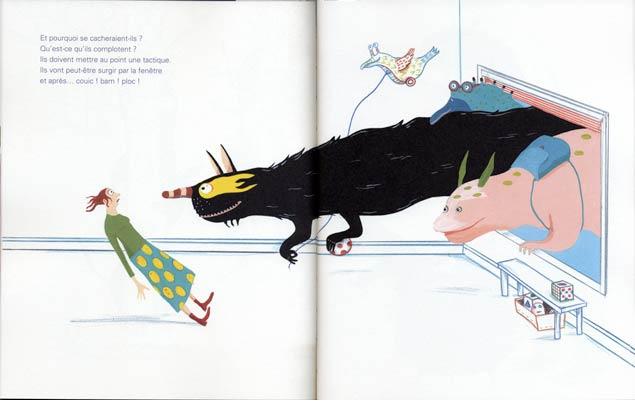 pages intérieures,Ils arrivent !, texte deSylvie Neeman, illustration d'Albertine, aux éditions La Joie de lire, 2018.