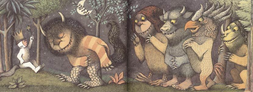 5/ 6/pages intérieures,Max et les maxi-monstres, texte et illustration deMaurice Sendak, aux éditions Harper & Row, Etats-Unis, 1963.