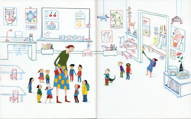 pages intérieures,Ils arrivent !, texte de Sylvie Neeman, illustration d'Albertine aux éditions La Joie de lire, 2018.