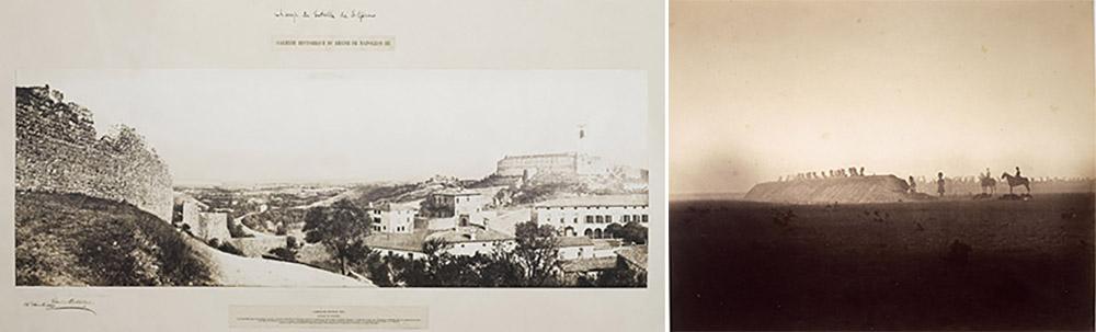 Léon-Eugène Méhédin (1828-1905),  Champ de bataille de Solférino vu de Cavriana, le 24 décembre 1859. © Paris – Musée de l'Armée, Dist. RMN-Grand Palais / Tony Querrec. Gustave Le Gray (1820-1884),  Camp de Châlons : manœuvres du 3 octobre. © Paris – Musée de l'Armée, Dist. RMN-Grand Palais.