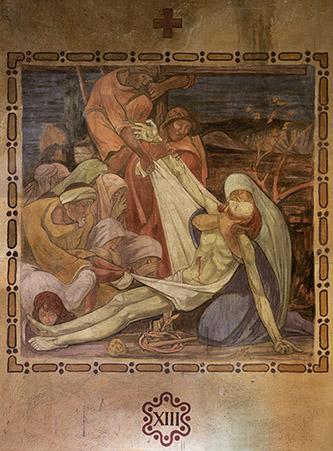 """Henri Marret, fresque de Saint-Louis de Vincennes – numéro XIII des """"quatorze stations du chemin de croix"""", 1921. Photographie © Clément Guillaume."""