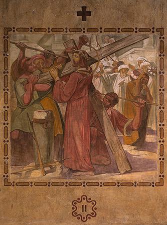 """Henri Marret, fresque de Saint-Louis de Vincennes – numéro II des """"quatorze stations du chemin de croix"""", 1921. Photographie © Clément Guillaume."""