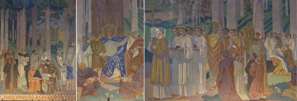 Maurice Denis, détail fresque de Saint-Louis de Vincennes Le roi Louis IX rendant la justice dans la forêt de Vincennes, 1923-1927. Photographie © Clément Guillaume.