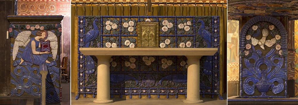 Maurice Dhomme, détail de la chaire de Saint-Louis de Vincennes, céramique. Et image du milieu : maître-autel de Saint-Louis de Vincennes, céramique. Photographie © Clément Guillaume.
