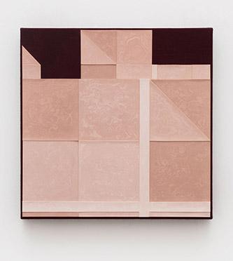 "Zhao Yao, ""⼀一个精神 One Spirit, 2018"". acrylic on found fabric, 50 x 50 cm."