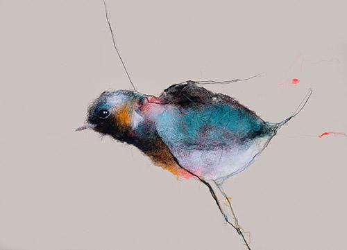 Mathieu Ducournau, « En suspens III », 2018. Fils de coton sur toile, 157 x 212 cm. Photographie © Zoé Ducournau. Courtesy Mathieu Ducournau et Galerie Chevalier.