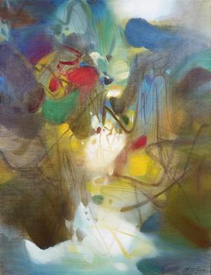 CHU Teh-Chun, Diffractions Alertes, 1990. Huile sur toile, 116x89cm. ©Adagp2019.fr. Avec l'aimable autorisation de la Fondation CHU Teh-Chun.