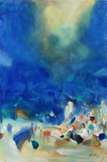 CHU Teh-Chun, sans titre, 2008. Huile sur toile, 195x130cm. ©Adagp2019.fr. Avec l'aimable autorisation de la Fondation CHU Teh-Chun.