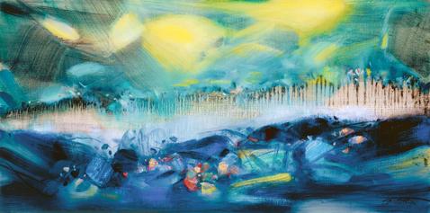 CHU Teh-Chun, Au temps des colzas, 1998. Huile sur toile, 60x120cm. ©Adagp2019.fr. Avec l'aimable autorisation de la Fondation CHU Teh-Chun.