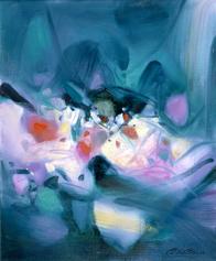 CHU Teh-Chun, Gemmes en devenir, 1993. Huile sur toile, 73x60cm. ©Adagp2019.fr. Avec l'aimable autorisation de la Fondation CHU Teh-Chun.