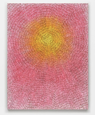 Jennifer Guidi, Seeking Joy (Painted Universe Mandala SF #4E, White Yellow Orange Pink Gradient, Naturel Ground), 2020. Sans, acrylic, and oil on linen, 193 x 147,3 x 3,8 cm.