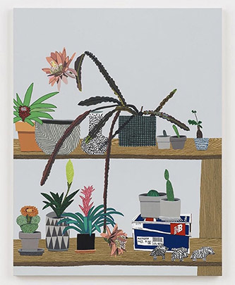 Jonas Wood, Shelf Still Life with Night Bloom, oil and acrylic on canvas, 147,3 x 114,3 x 3,8 cm.