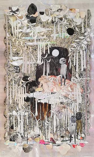 Camille Fischer, If paradise was half as nice, 2020. Collage techniques mixtes sur papier et cellophane, 75 x 46 cm. © Camille Fischer.