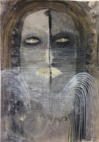 Camille Fischer, Stained Eyes. Techniques mixtes sur papier, 29,7 x 21 cm. © Camille Fischer.
