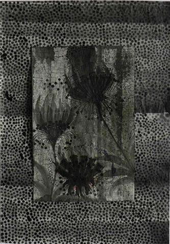 Camille Fischer, Where have all the flowers gone, 2019. Techniques mixtes sur papier, 37x24.5 sur 58x49cm. © Camille Fischer.