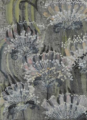 Camille Fischer, Where have all the flowers gone, 2020. Techniques mixtes sur papier, 41 x 29,5 cm. © Camille Fischer.