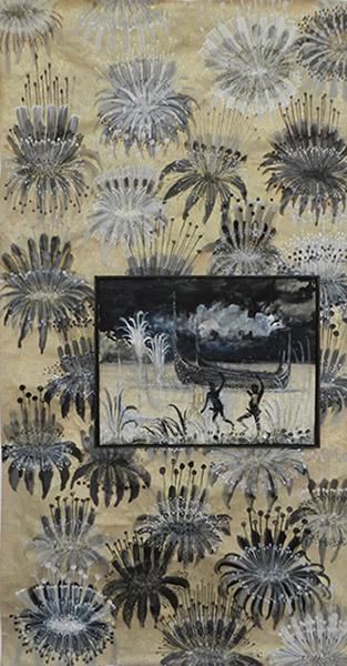 Camille Fischer, A hole in the clouds et Where have all the flowers gone, 2017 et 2019. Techniques mixtes sur papier, 36 x 48  cm et 150.5 x 80cm. © Camille Fischer.