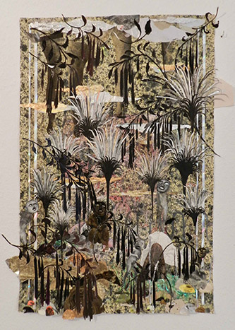 Camille Fischer, Eden, 2019. Collage techniques mixtes sur papier, 75x49cm. © Camille Fischer.