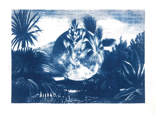 Coraline de Chiara, Vue des ruines circulaires, 2020. Cyanotype on paper, 21×26,7 cm.
