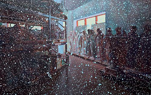 Coraline de Chiara, Les dormeurs, 2019. Oil on canvas, 315x210 cm.