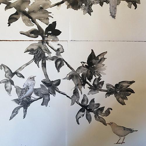 Vue de l'atelier de Raphaëlle Peria, chambre #40 - Drawing Factory, le 3 septembre 2021. © Anne-Frédérique Fer / FranceFineArt.com.