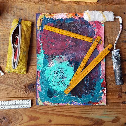 Vue de l'atelier de Caroline Derveaux, Mains d'œuvres – Saint Ouen, le 24 septembre 2021. © Anne-Frédérique Fer / FranceFineArt.com.